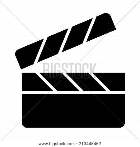 Movie clapper board silhouette icon. Film production pictogram. Minimalistic vector illustration isolated on white background