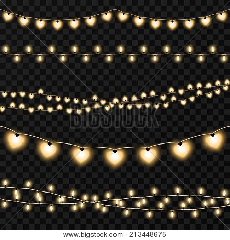 Set of garlands on a vector transparent background. Illustration of garland light illuminated for decoration holiday