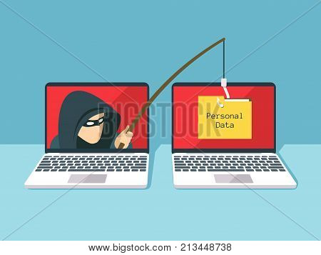 poster of Phishing scam, hacker attack and web security vector concept. Illustration of phishing and fraud, online scam and steal
