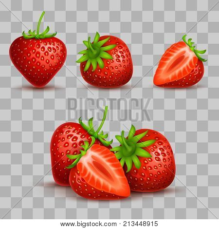 Vector realistic sweet and fresh strawberry isolated on transparent background. Sweet strawberry fruit, illustration of fresh juicy dessert