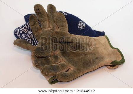 Worn gloves and bandana
