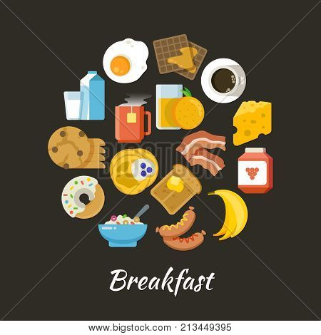 Breakfast vector concept. Fresh and healthy food flat iconce in circle design. Breakfast food fruit and egg, drink orange and coffee illustration