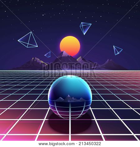 Retro vibrant futuristic synth night vector poster in nostalgia 80s style with mountains, abstract pyramids and metal sphere. Cyberspace digital and illumination grid glowing surface illustration