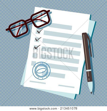 Loan application form document isolated on transparent background. Loan document form for mortgage, paperwork illustration business vector