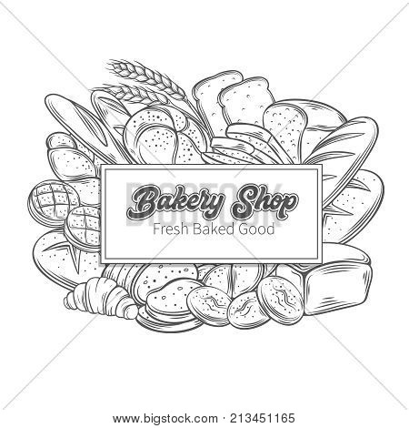 Food template banner frame with bread product. Hand drawn sketch rye and wheat bread, croissant, whole grain bread, bagel, toast bread, french baguette for design menu bakery shop.