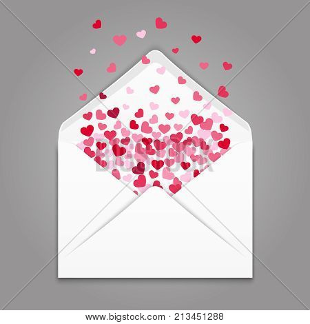 Realistc white paper envelope with colorful hearts confetti. Envelope with valentine mail heart, love letter message, vector illustration