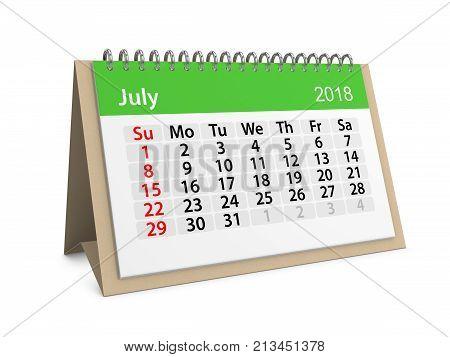 Monthly table calendar for July 2018. 3d illustration
