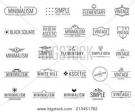 Vintage minimal vector logos with simple shapes. Modern luxury emblems for shopping tag. Vintage emblem graphic decoration frame illustration