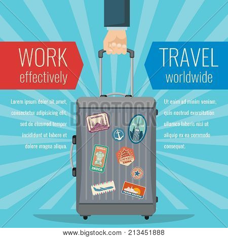 Man hand holding travel bag luggage with landmarks stickers. Traveling vector concept. Illustration of luggage for vacation and suitcase
