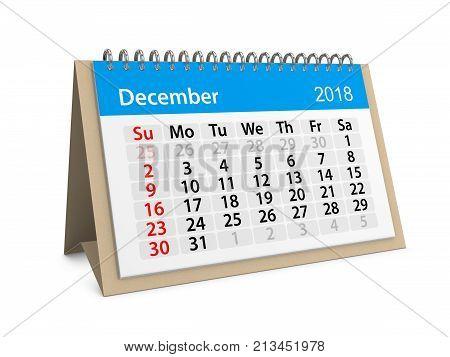 Monthly table calendar for December 2018. 3d illustration