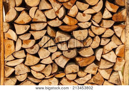 chopped firewood, chopped firewood stacked in boxes, Fire woods background.