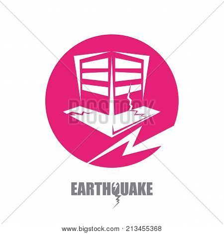 vector Earthquake icon with damaged house isolated on white background. vector Natural disaster sign or symbol