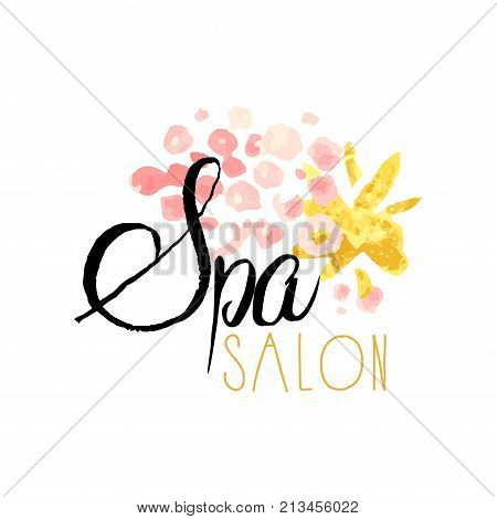 Spa salon or center original delicate logo design with abstract textured background. Label with pink and golden gentle colors. Beauty salon emblem concept. Hand drawn vector for natural products.