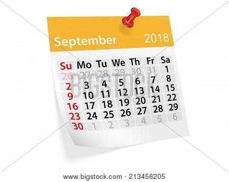 Monthly pinned note calendar for September 2018. 3d illustration