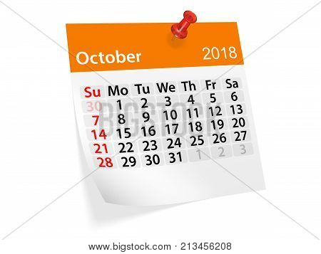 Monthly pinned note calendar for October 2018. 3d illustration