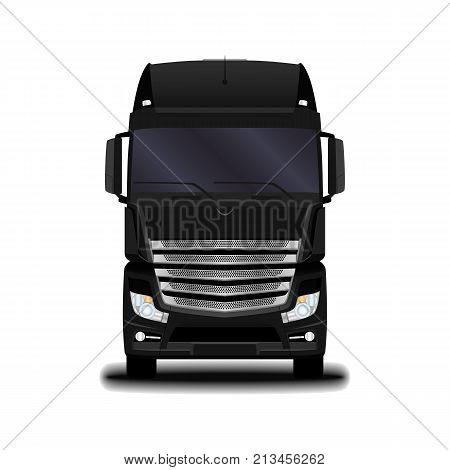 transportation. Big realistic black truck. front view.