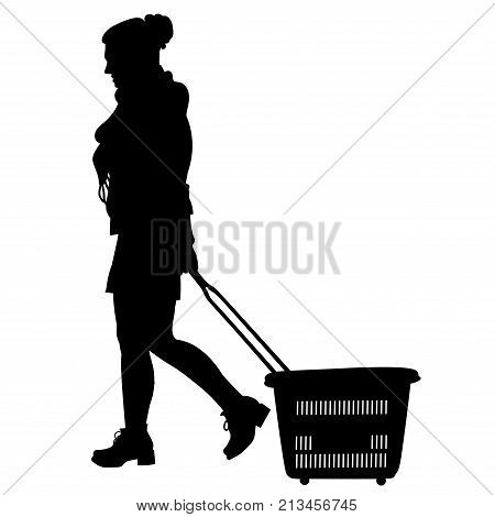Silhouette of a woman walking with shopping cart - vector
