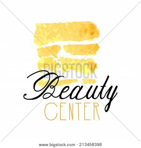 Delicate logo design with abstract golden texture for beauty center. Label with gentle colors. Beauty salon emblem concept. Hand drawn vector for make up, natural products, cosmetics shop or boutique.