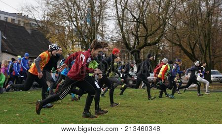 Athletes start at sports orientation competitions. Competitions take place in the city of Jelgava. Latvia 2017