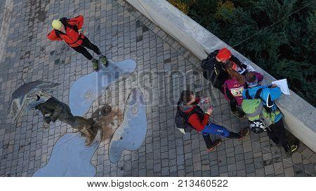 11/04/2017, Jelgava, Latvia, competitions sports orientation, participants, students, people,