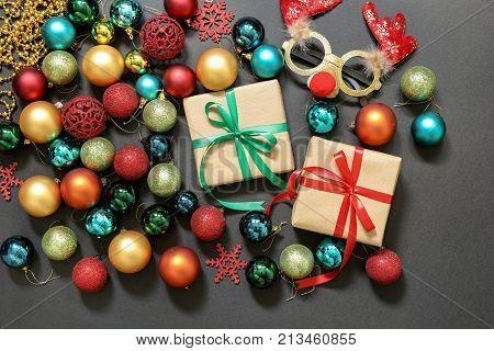 Christmas Tree Toys Balls, Gifts, Deer Mask On Dark Background.