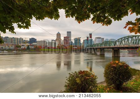 Portland Oregon downtown city skyline framed by fall season foliage along Willamette River USA America