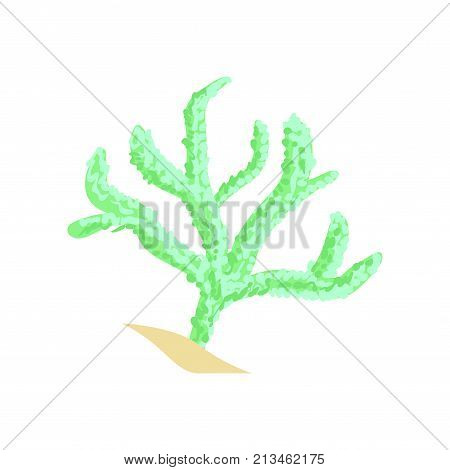 Green finger leather coral. Aquarium invertebrate animal. Cartoon underwater plant of tropical waters. Marine ecosystem concept. Vector illustration in flat design isolated on white background.
