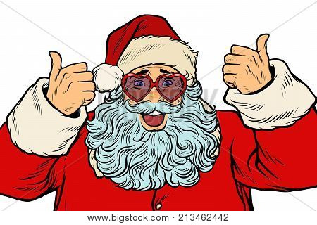Santa Claus in fancy glasses isolated on white background. Pop art retro vector illustration
