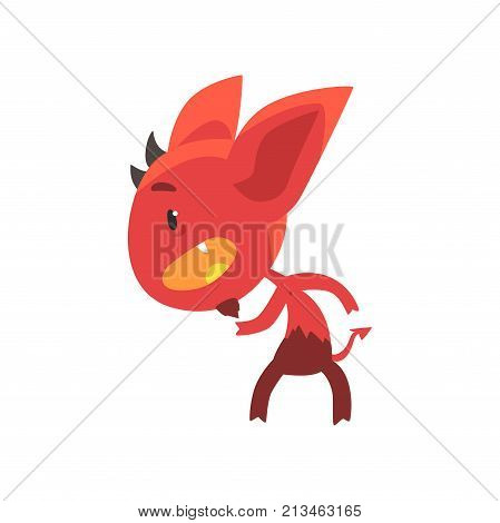 Little red devil standing in threatening pose isolated on white. Funny evil fictional character with horns, big ears and tail. Flat design for social network message, sticker, card or kid shirt print.