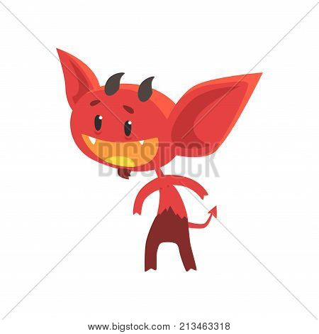 Flat vector illustration of funny little devil with interested facial expression isolated on white. Comic fictional demon character with horns, tail and big ears. Design for print, sticker or card.