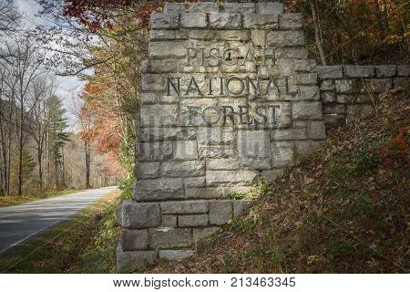 Welcome sign to Pisgah National Forest in North Carolina. One of the entries to Blue Ridge Parkway