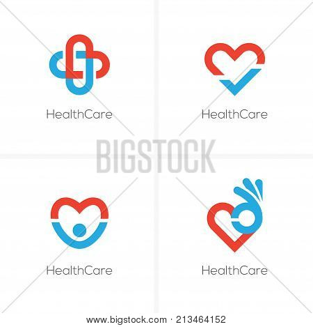 Set of four health care logo with heart shape ok sign check mark and happy man silhouette. Cardiology center medical clinic abstract logo.