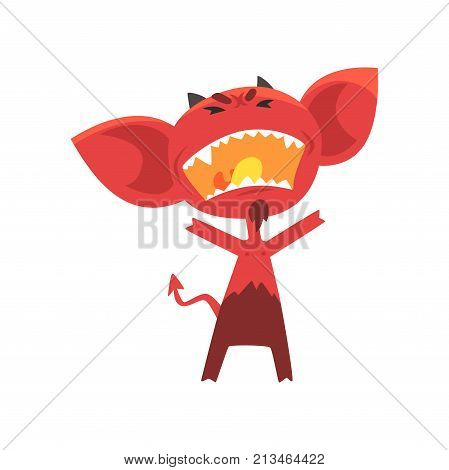 Furious red devil with horns, big ears and tail. Cartoon demon with angry facial expression. Fictional character from hell. Flat vector illustration for kids t-shirt print, sticker, card or poster.
