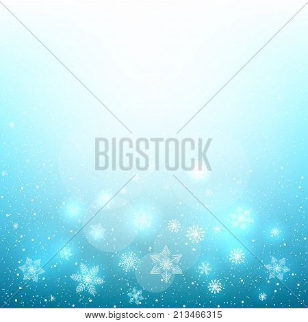Falling glowing magic snowflakes on beautiful Christmas background. Snow falls from the winter cloudy sky. Vector Illustration.
