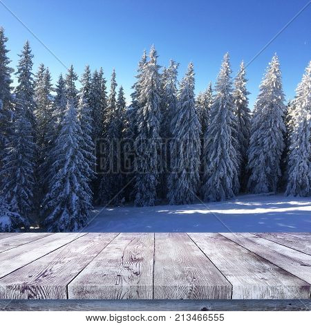 Wood table over winter forest nature background