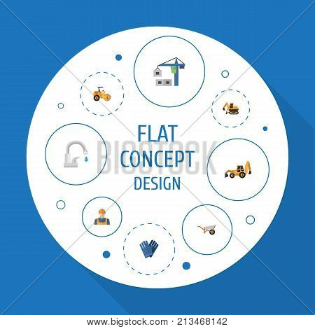 Set Of Industry Flat Icons Symbols Also Includes Work, Handcart, Roller Objects.  Flat Icons Handcart, Mitten, Faucet Vector Elements.