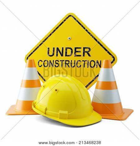 Yellow Helmet, Traffic Cones And Signboard Under Construction