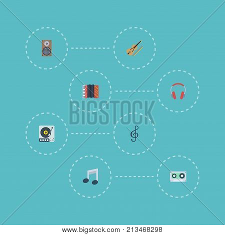 Flat Icons Tape, Quaver, Fiddle And Other Vector Elements