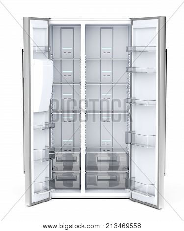 Front view of empty side-by-side refrigerator on white background, 3D illustration