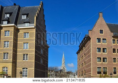 Brussels, Belgium - April 2015: Preserved Old European-style Residential And Commercial Buildings On