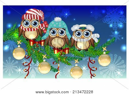 Three Owls In Caps, Scarves, Headphones On A Spruce Branch Decorated With Balls, Garlands. Christmas
