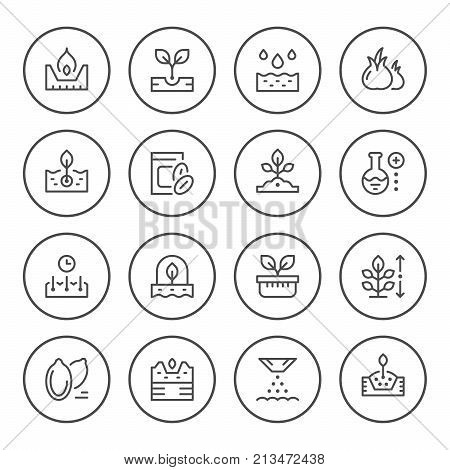 Set round line icons of seed and seedling isolated on white. Vector illustration