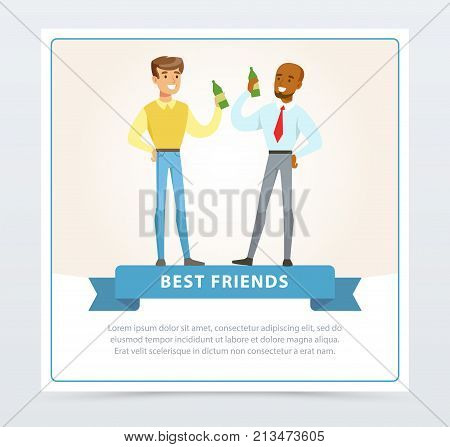 Two best male friends drinking beer at meeting, best friends banner flat vector element for website or mobile app with sample text