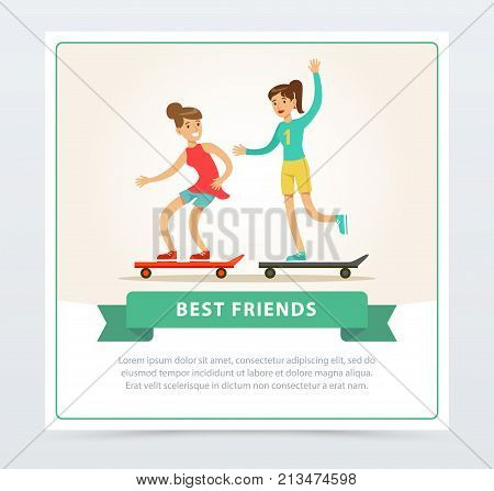 Two female friends skateboarding, best friends banner flat vector element for website or mobile app with sample text