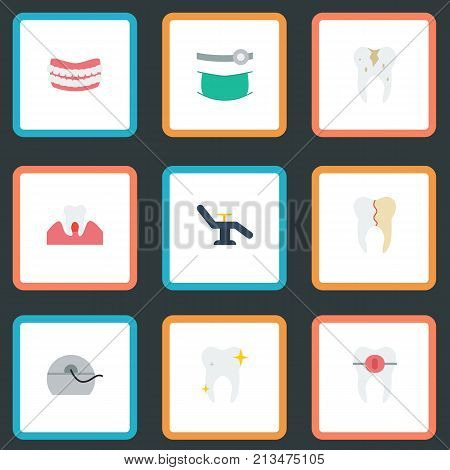 Flat Icons Halitosis, Artificial Teeth, Brace And Other Vector Elements