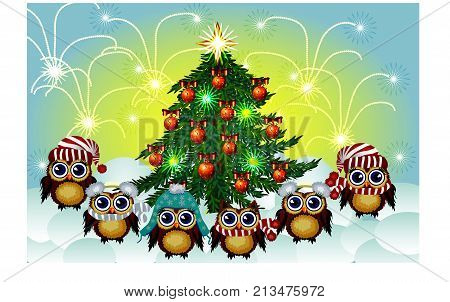 Lovely Brown Owls In Caps, Scarves, Warm Headphones Around The Decorated With Balls And The Lights O