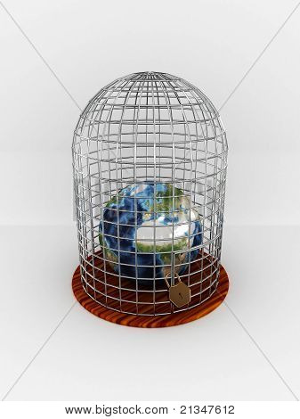 Earth In Cage Isolated On White Background. 3D
