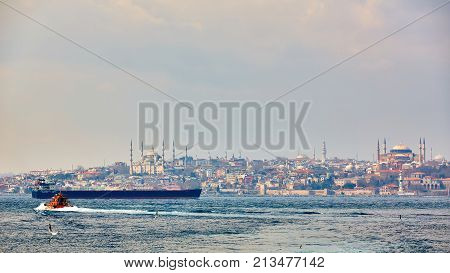 Panorama of Istanbul with Hagia Sophia, Blue Mosque, Turkey.