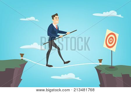 Businessman tightrope walker. Idea of risky and courage business.