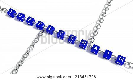 The word supply chain on blue cubes connected by iron chain elements 3D illustration